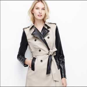 Ann Taylor Edgy Trench Coat with Faux Leather Trim